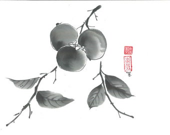"Original Art ""Persimmon""- Japanese sumi-e - asian painting - Wall decor - home decor - black and white - minimalist art - kitchen decor"