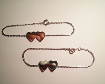 "2 Bintage Silverplated 7-1/2"" Double Heart Anklet/Btacelet"