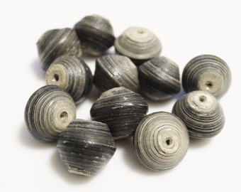 12 Large African Paper Beads, Rustic Beads, Eco Friendly Jewelry Supplies (l116)
