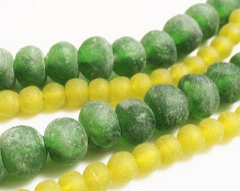 Recycled Glass Beads From Africa, Green and Yellow Glass Beads, Tribal Beads (Q124)