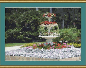 Floral Fountain Cross Stitch Pattern