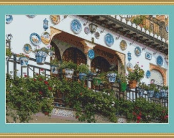 Spanish House Cross Stitch Pattern