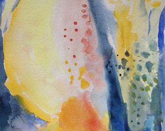 Original Abstract Watercolor Painting in Yellow and Blue