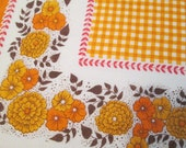 Gingham floral Fall Thanksgiving table cloth fabric panel craft supply harvest festive orange floral rectangular tablecloth holiday decor