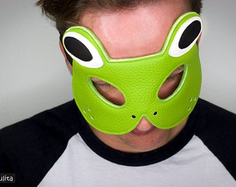 "Mask ""Froggy"" - Leather Frog Mask"