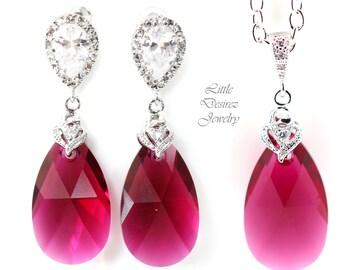 Swarovski Jewelry Bridesmaid Gift Ruby Jewelry Set Pink Earrings & Necklace Dangle Earrings Hypoallergenic Cubic Zirconia Earrings RP32JS
