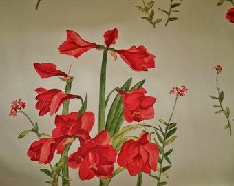 LEE Jofa ANDREW Martin Kravet AMARYLLIS Fabric 10 Yards Crimson Red Burgundy Green Cream