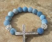 Sideways Cross Bracelet - Blue