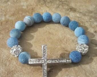 Sideways Cross Bracelet. Cross Bracelet. Agate Bracelet. Cross Jewelry. Side Cross Bracelet.