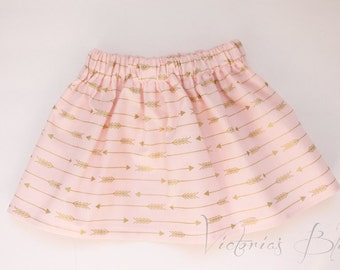 Market Circle Skirt ~PINK w/ Gold Arrows Custom Boutique Girls Twirl Skirt/Infant/Toddler Girls-Made to order:  Newborn to 5/6 Girls