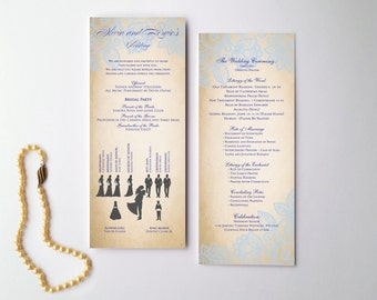 Wedding program sample - program for wedding with wedding party silhouette {Lindsay design}