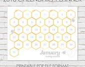 2016 Printable Calendar / Planner. 'Bee Happy' geometric honeycomb hexagon pattern with bee detail.