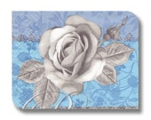 Blue rose floral napkin for decoupage (cocktail)  x 1 Greyscale Rose . No 1114