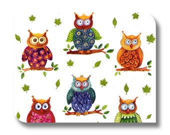 Colorful owl paper napkin for decoupage, mixed media, collage, scrapbooking x 1. Wise Owls. No 1236