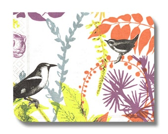 Paper napkin for decoupage, mixed media, collage, scrapbooking x 1. No. 1217 Screen print birds