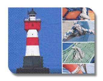 Nautical paper napkin for decoupage, mixed media, collage, scrapbooking x 1.  Lighthouse. No 1037