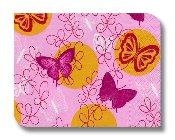 Butterfly paper napkin for decoupage x 1. Pink butterflies . No 1027