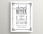 Printable Wedding Rehearsal Dinner Invitation \\ Rustic Wedding \\ Black and white invite (RD69)