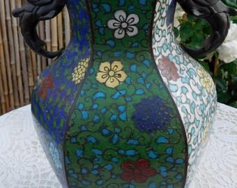 arge Antique Asian Chinese Champlevé Enamel Floral Bronze Vase Dragon Handles