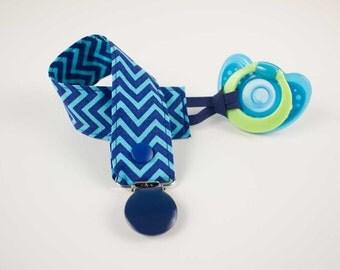 Royal Blue Chevron pacifier clip