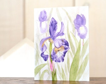 Purple Iris notecards, watercolor notecards, floral notecards, personal stationery set, grandmothers garden, watercolor garden, art reprint