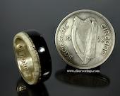 Silver wedding band engagement ring with Irish bog Oak