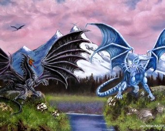 "Dragon Art - Fantasy - Black Dragon fighting Blue Dragon - ""Caatha vs Gotthra"" - Giclee Canvas Print"