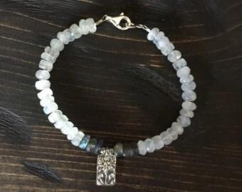 Moonstone and Labradorite Lotus Bracelet
