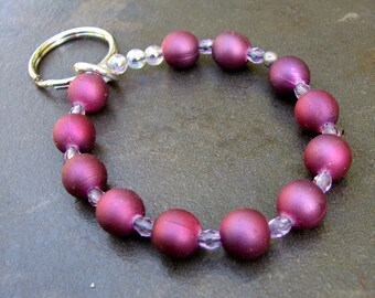 Bracelet Key Chain - Elastic Keychain - Bracelet Lanyard - Beaded Key Chain - Wrist Key Chain - Key Bracelet - Key Holder - Purple