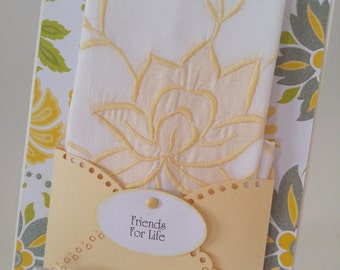 Vintage Embroidered Handkerchief Yellow Blossom Applique Friends For Life Thinking Of You Just Because Keepsake Gift Hanky Card
