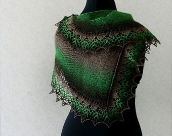 Elegant wool lace scarf - brown, green, black