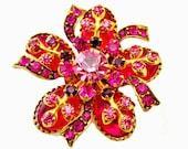 Pink Brooch Cabochon Rhinestone Flower  and Bow