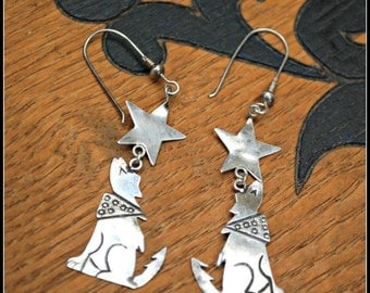 sterling silver earrings dangle howling coyote with scarf south western light weight