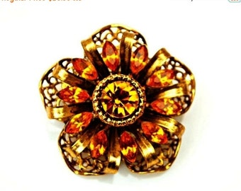 Rhinestone Brooch with Amber Orange Gold Filigree flower pin