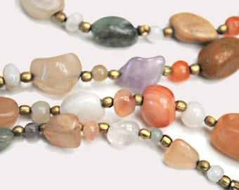 Gemstone  necklace with Jasper Agate quartz Amethyst and Carnelian  nugget bead necklace