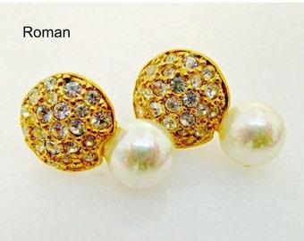 Roman  pierced earrings Rhinestone pearl goldtone