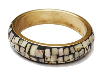 Mosaic Shell  Brass Bangle - Boho white shell inlay  Bracelet