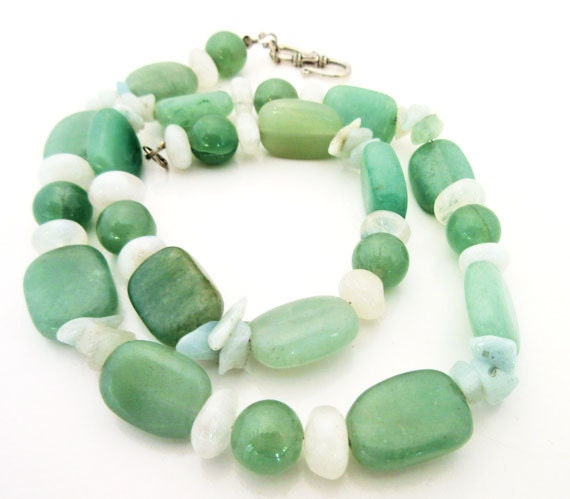 Green Aventine Bead Necklace -polished  quartz beads - green and white gemstone