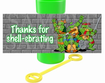 Ninja Turtle Personalized Birthday Printable Party Bubble Labels