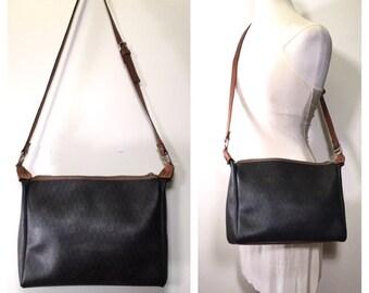 Vintage Christian Dior Bag 1980s Black and Brown Leather Dior Monogram Handbag Large Designer Purse Crossbody Carryall Authentic Dior Bag