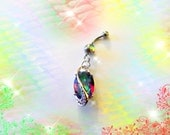 Multi Color Alexandrite Peacock Paradise Crystal Drop Belly Button Ring, Sterling Silver Setting, Belly Button Jewelry, For Women and Teens