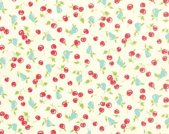 Vintage Picnic by Bonnie and Camille for Moda, Aqua, Red, Green, Cherries, White, Cream 5512317