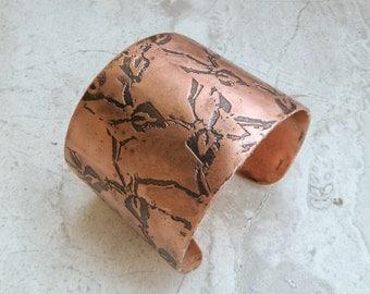 Wide Etched Copper Cuff Bracelet with Vine Trellis Pattern, Handmade