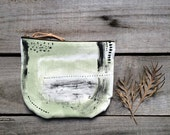 Sage green & black hand painted purse, zippered pouch with leather details, women's bags