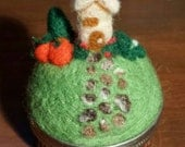 A cottage in Autumn, needle felted pincushion on vintage round sewing box made of tin. Pumpkins, fall, cottage home. Cute!