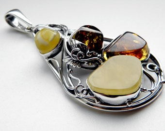 Baltic amber sterling silver pendant - multicolor