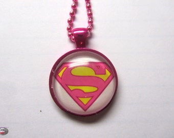 Super Girl Pink Glass Pendant Necklace Girl Power