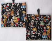 Day of the Dead Potholders Set of 2