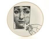 Porcelain Plate Altered Face Lina Cavalieri Puzzle Hand Woman Vintage Gold TrimDishware Housewarming Wedding Gift