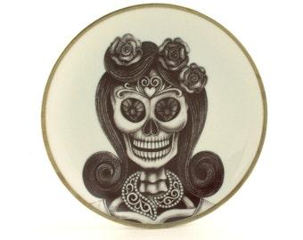 Sugar Skull Altered Vintage Porcelain Plate Calavera Necklace Woman Day of the Dead Mexico Halloween Dios de los Muertos Wall Decoration